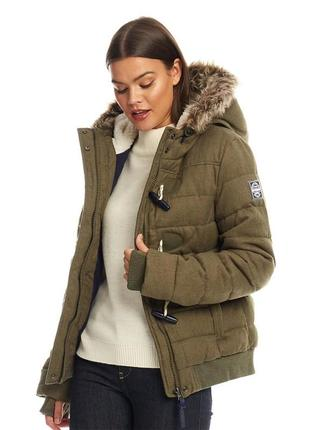 Superdry оригинал! женская куртка на зиму пуховик хаки коротка...