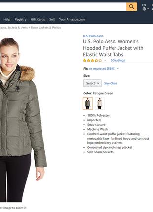 U.s. polo assn женская короткая куртка теплая на зиму легкая з...