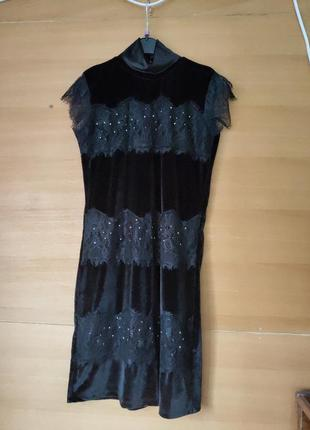 Чёрное французское вечернее платье велюр с кружевом