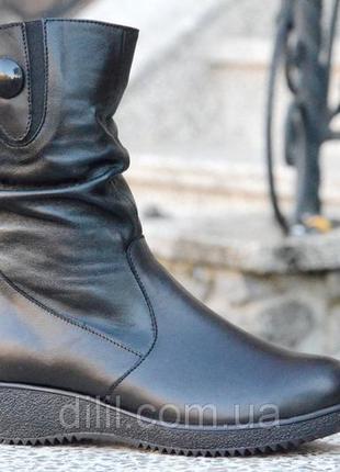 Женские зимние кожаные ботинки полусапожки