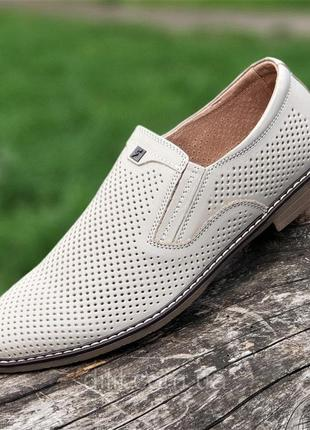 Туфли кожаные мужские летние бежевые