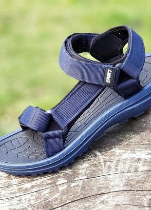 Босоножки сандалии мужские темно синие на липучках