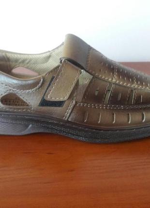 Мужские летние туфли коричневые