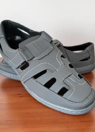 Мужские летние туфли серые