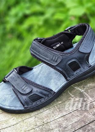 Босоножки сандалии мужские кожаные летние черные