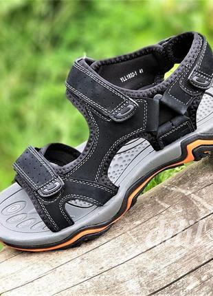 Босоножки сандалии мужские кожаные черные на липучках спортивные