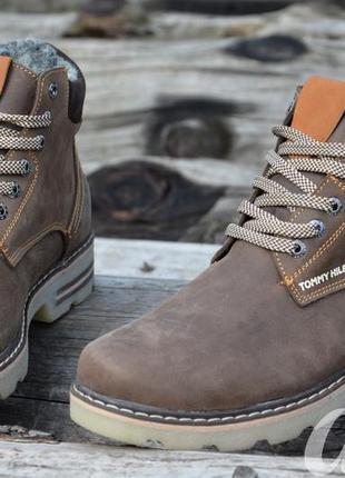 Ботинки мужские зимние кожаные tommy hilfiger коричневые