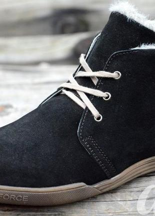 Зимние мужские замшевые полуботинки, ботинки черные классические
