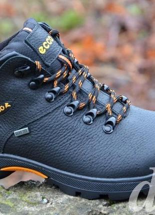 Ботинки мужские зимние кожаные черные ecco