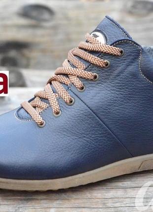 Ботинки мужские зимние кожаные темно синие