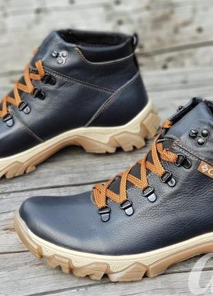 Ботинки мужские зимние кожаные columbia темно синие