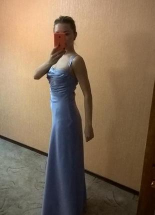 Вечернее сиреневое платье в пол макси