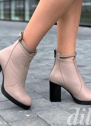 Ботинки ботильоны женские зимние кожаные на каблуке