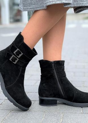 Ботинки женские зимние замшевые кожаные черные, полуботинки