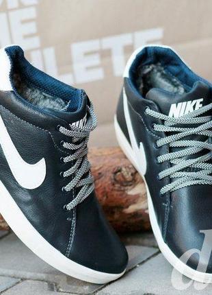 Мужские зимние ботинки кожаные nike темно синие