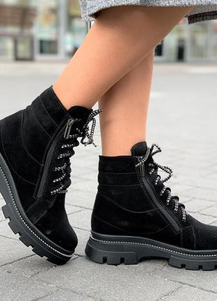 Ботинки женские зимние замшевые кожаные  на шнурках, полуботинки