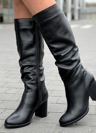 Сапоги женские зимние кожаные черные на каблуке