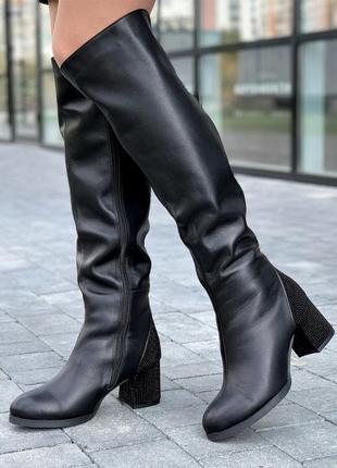 Сапоги ботфорты женские зимние кожаные