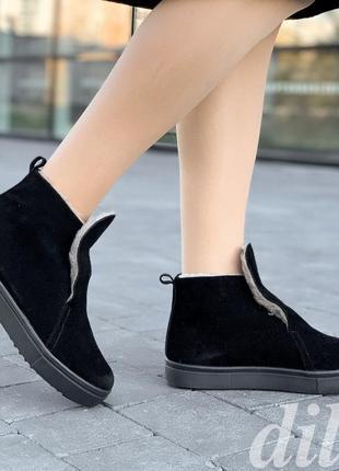 Ботинки женские зимние замшевые черные модные, полуботинки
