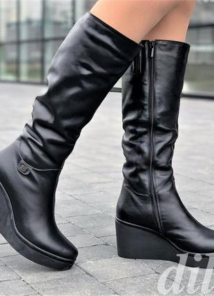 Сапоги женские зимние кожаные черные на танкетке на платформе
