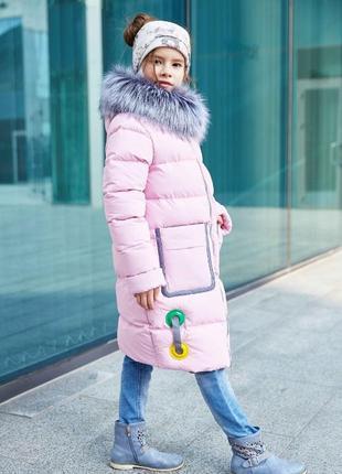 Классный зимний пуховик-пальто для девочки