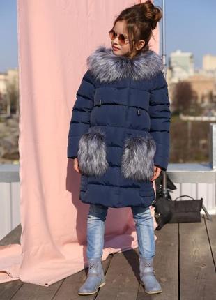 Детское зимнее пальто пуховик для девочки