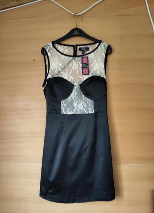Чёрно-белое платье бюстье с кружевом с открытой спиной Rare ml