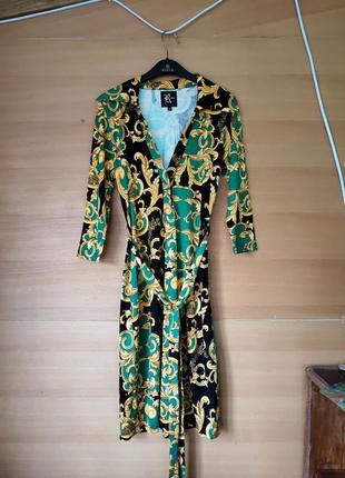 Трикотажное платье с воротником с поясом reina Турция
