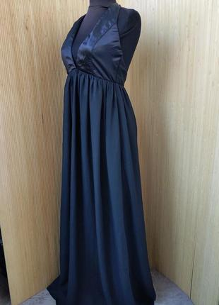 Длинное чёрное платье nly trend sm