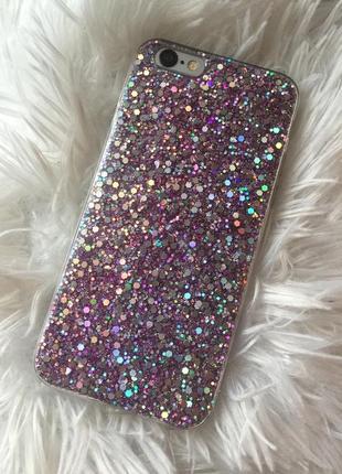 Чехол силиконовый с блёстками для iphone 6, 6 s