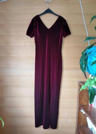 Длинное велюровое платье цвета марсала Yessica