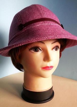 Шляпа женская федора шерсть цвет фуксия