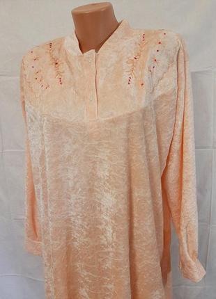 Бархатная ночная рубашка в пол длинный рукав , вышивка elgazar...