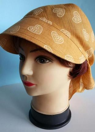 Бандана женская с козырьком лен рубашечный желто - оранжевый