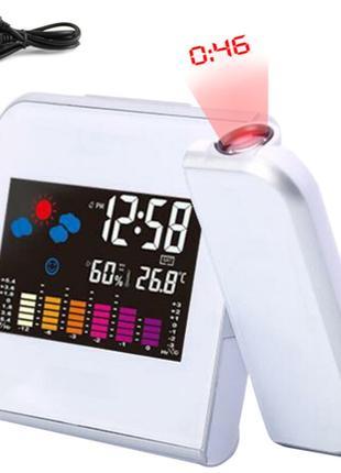 Проекционные Часы будильник с метеостанцией