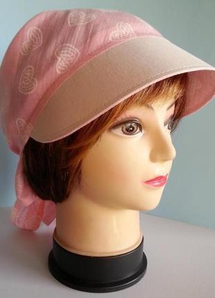 Бандана женская с козырьком лен рубашечный розового цвета