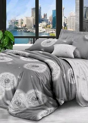 Хлопковое постельное белье одуванчик на сером
