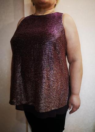 Скидка блестящая нарядная блуза next батал uk 20 наш 54