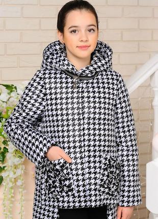 Стильная модная демисезонная куртка с черно-белым рисунком  на...