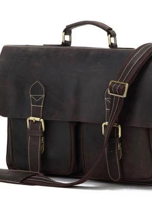 Стильный мужской кожаный портфель ручной работы в винтажном стиле