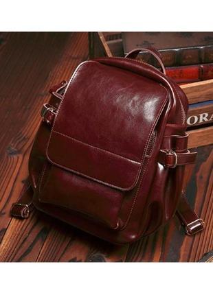 Стильный женский кожаный саsual городской рюкзак в коричневом ...