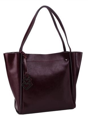 Модная классная кожаная женская темно-коричневая тоут шопер су...