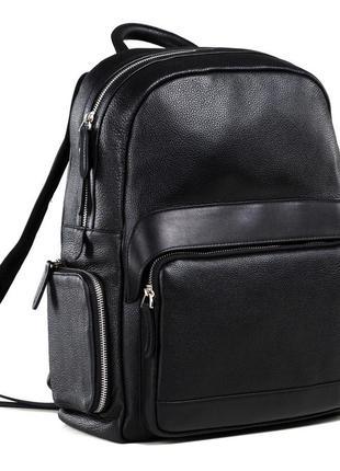 Стильный презентабельный мужской кожаный черный сasual рюкзак ...