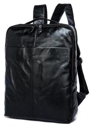 Стильный модный мужской кожаный городской casual черный рюкзак...