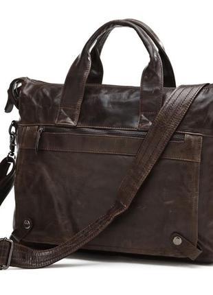 Винтажная стильная мужская кожаная коричневая casual сумка руч...
