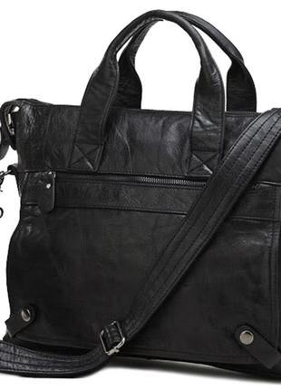 Винтажная стильная мужская кожаная черная casual сумка ручная ...