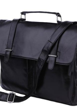Винтажная кожаная черная мужская стильная casual сумка-портфел...