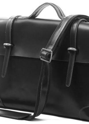 Кожаный стильный модный черный casual мужской портфель-сумка р...