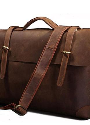 Кожаная стильная модная коричневая casual мужская сумка-портфе...