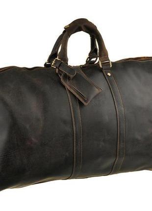 Стильная кожаная дорожная винтажная мужская коричневая сумка т...